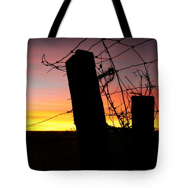 Fence Sunrise Tote Bag by Kathy M Krause