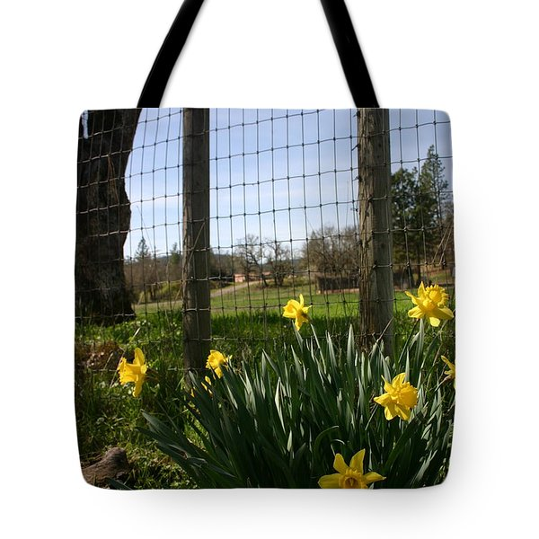 Tote Bag featuring the photograph Fence With A View by Marie Neder
