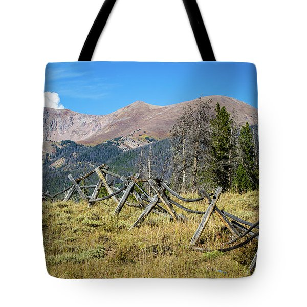 Fences Into The Rockies Tote Bag by Dawn Romine