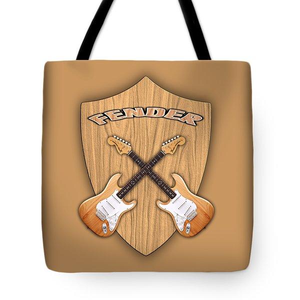 Fender Stratocaster Natural Color Shield Tote Bag by Doron Mafdoos