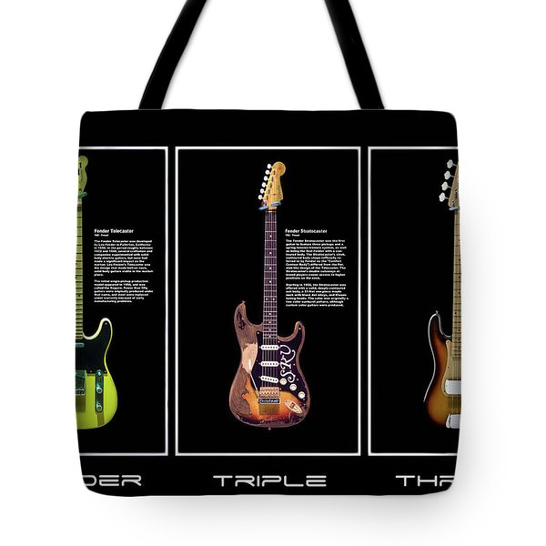 Tote Bag featuring the photograph Fender Triple Threat by Peter Chilelli