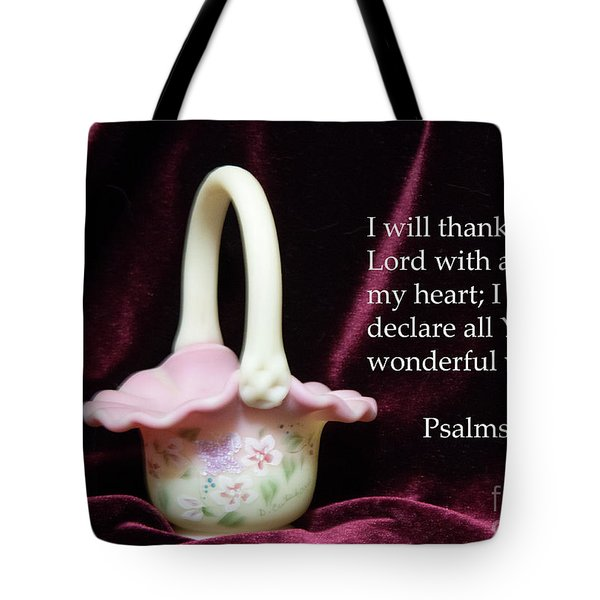 Tote Bag featuring the photograph Fenton Art Glass Basket Psalms 9vs1 by Linda Phelps