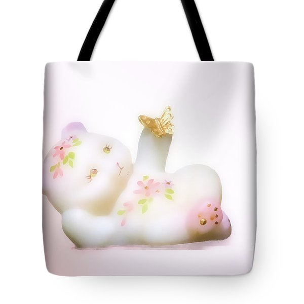 Tote Bag featuring the photograph Fenton Art Glass Bear by Linda Phelps