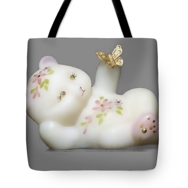 Tote Bag featuring the pyrography Fenton Bear Cutout by Linda Phelps