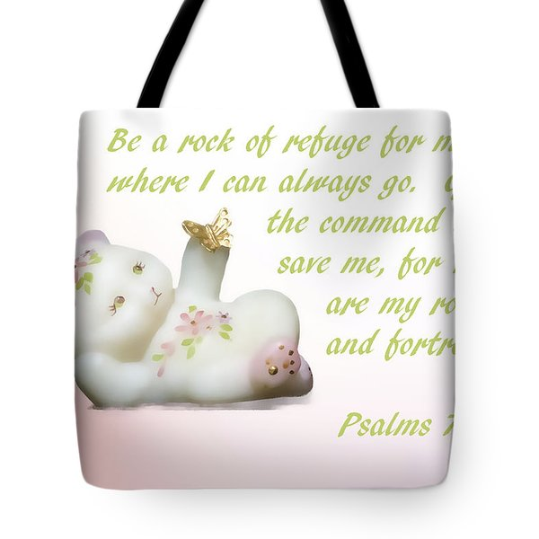 Tote Bag featuring the photograph Fenton Glass Bear by Linda Phelps