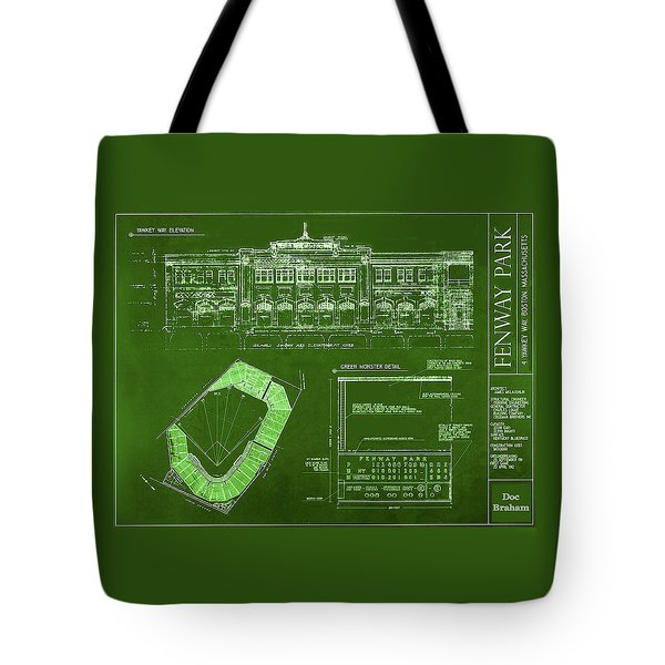 Fenway Park Blueprints Home Of Baseball Team Boston Red Sox Tote Bag