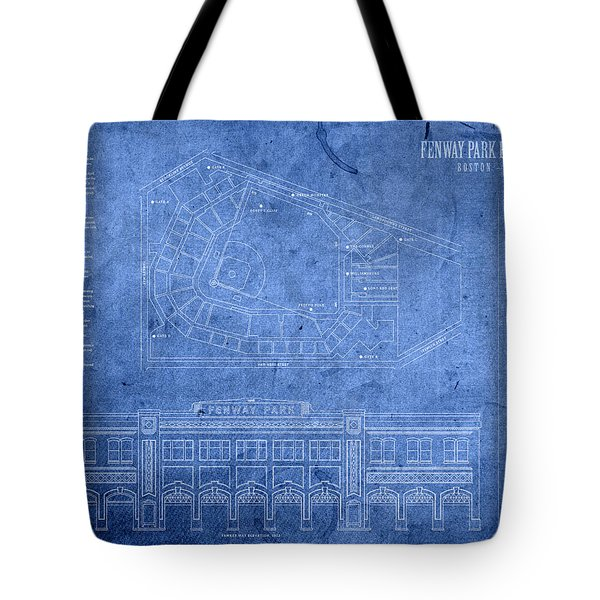 Fenway Park Blueprints Home Of Baseball Team Boston Red Sox On Worn Parchment Tote Bag by Design Turnpike