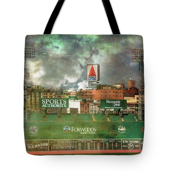 Tote Bag featuring the photograph Fenway Park Green Monster And Citgo Sign by Joann Vitali