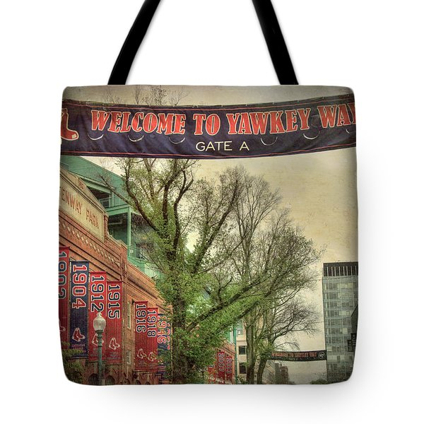 Tote Bag featuring the photograph Fenway Park Yawkey Way Sign by Joann Vitali