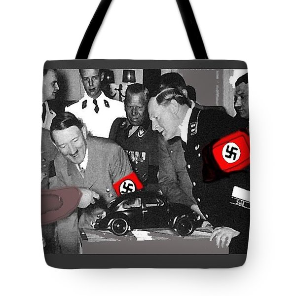 Ferdinand Porsche Showing The Prototype Of The Vw Beetle To Adolf Hitler 1935-2015 Tote Bag