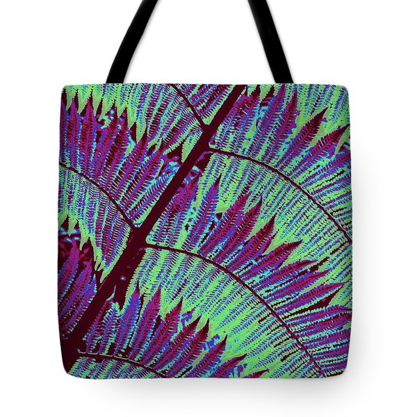 Tote Bag featuring the photograph Fern In Technicolor by Ranjini Kandasamy