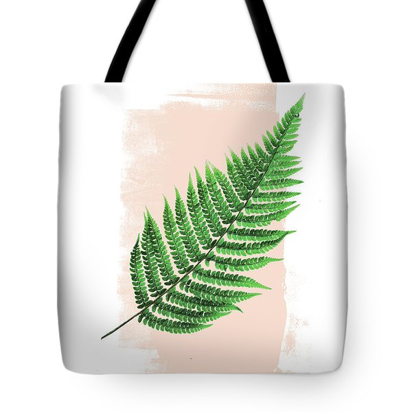Fern Leaf On Pink Tote Bag