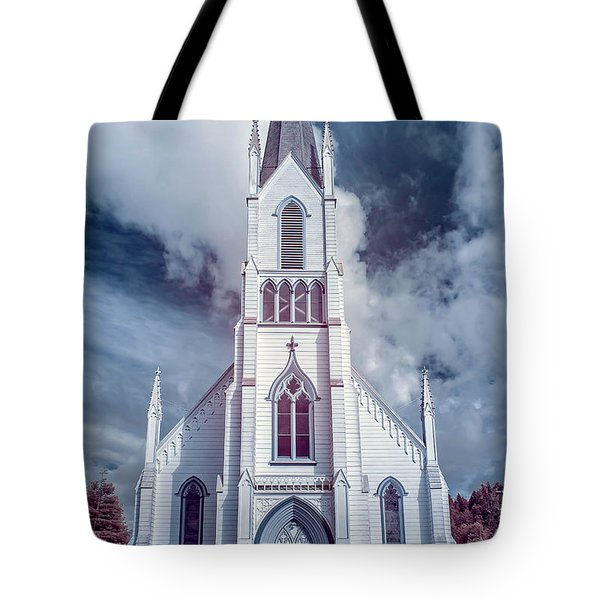 Tote Bag featuring the photograph Ferndale Church In Infrared by Greg Nyquist