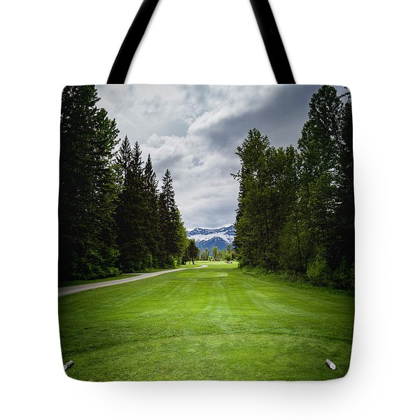 Tote Bag featuring the photograph Fernie Tee Box by Darcy Michaelchuk