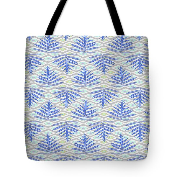 Ferns On Diamonds Indigo Gray Tote Bag