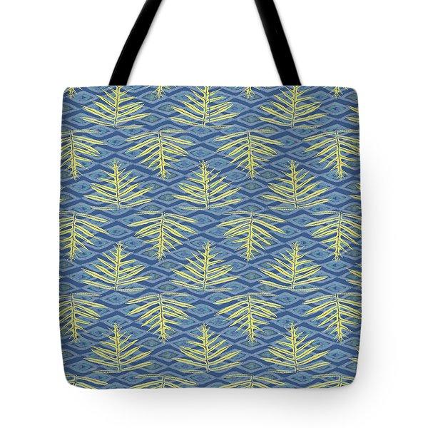 Ferns On Diamonds Yellow Indigo Tote Bag