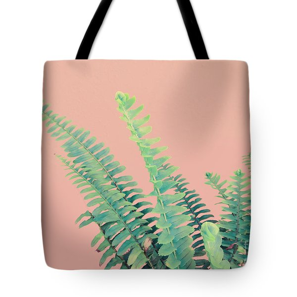 Ferns On Pink Tote Bag