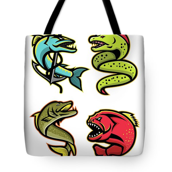 Ferocious Fishes Sports Mascot Collection Tote Bag