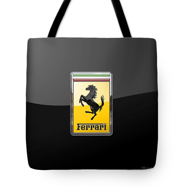 Ferrari - 3 D Badge On Black Tote Bag