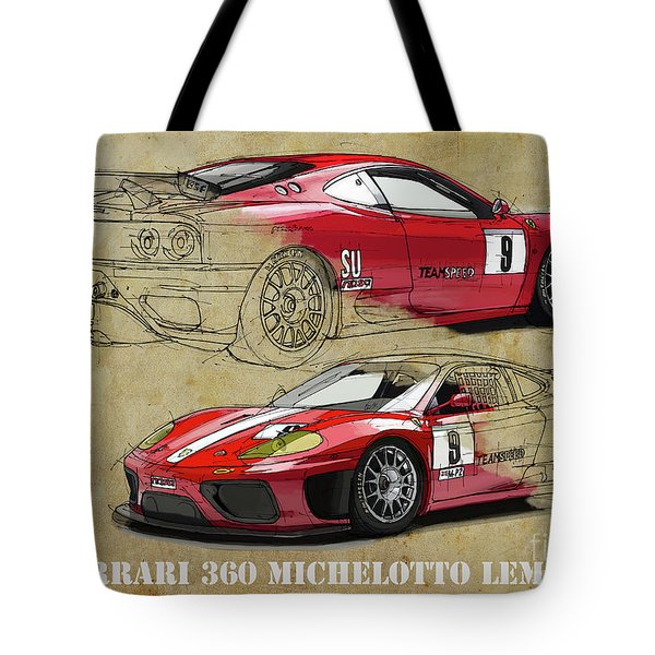 Ferrari 360 Michelotto Le Mans Race Car. Two Drawings One Print Tote Bag