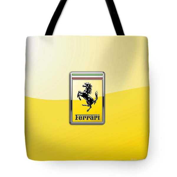 Ferrari 3d Badge- Hood Ornament On Yellow Tote Bag