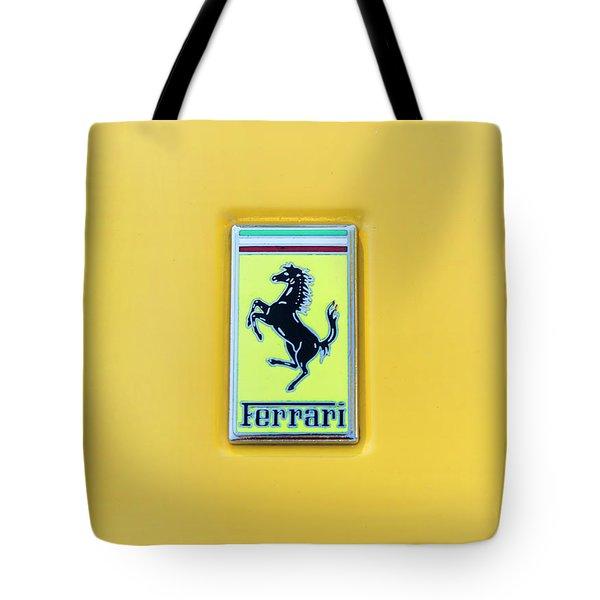 Tote Bag featuring the photograph Ferrari Badge by Theresa Tahara