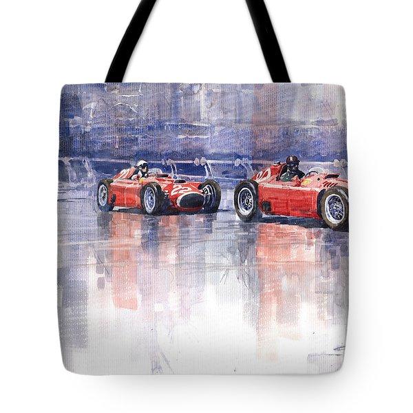 Ferrari D50 Monaco Gp 1956 Tote Bag by Yuriy  Shevchuk