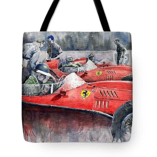 Ferrari Dino 246 F1 1958 Mike Hawthorn French Gp  Tote Bag