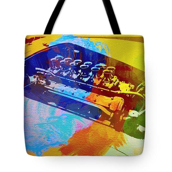 Ferrari Engine Watercolor Tote Bag