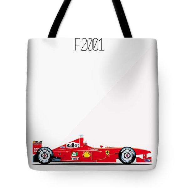 Ferrari F2001 F1 Poster Tote Bag