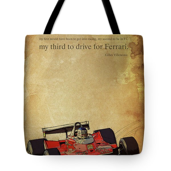 Ferrari Race Car, Gift For Men, Brown Background, Original Giles Villeneuve Inspirational Quote Tote Bag