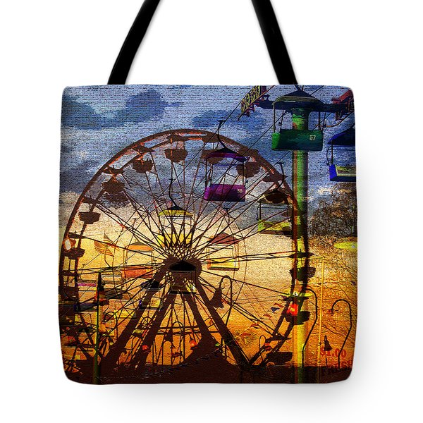 Tote Bag featuring the digital art Ferris At Dusk by David Lee Thompson