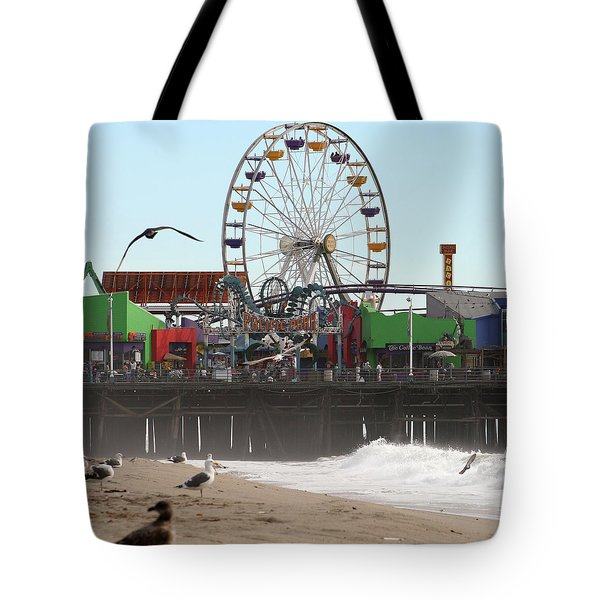 Ferris Wheel At Santa Monica Pier Tote Bag