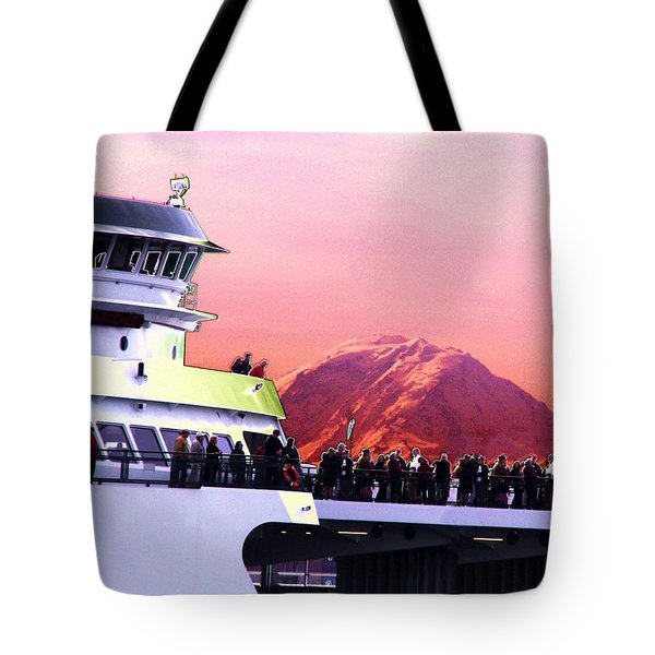 Ferry And Da Mountain Tote Bag by Tim Allen