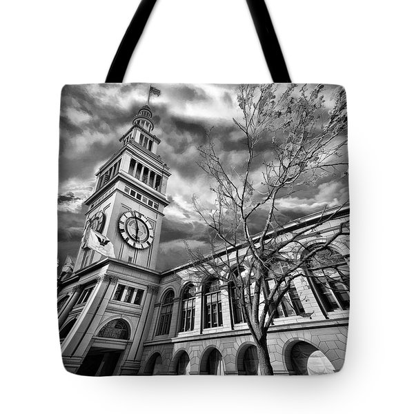 Ferry Building Black  White Tote Bag