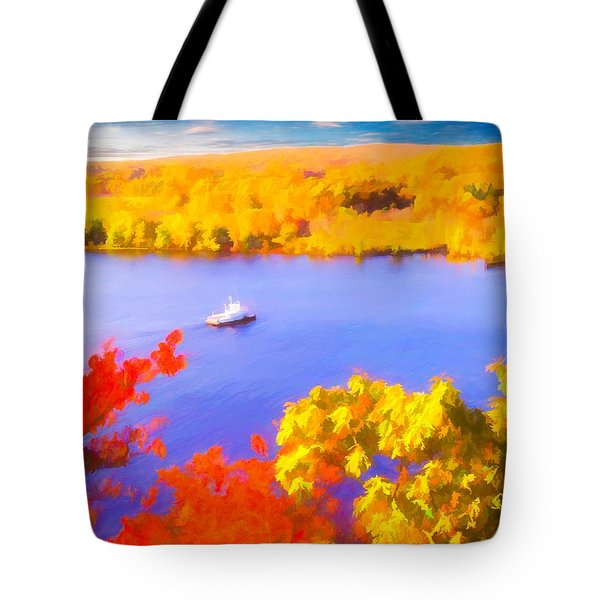 Ferry Crossing Connecticut River. Tote Bag