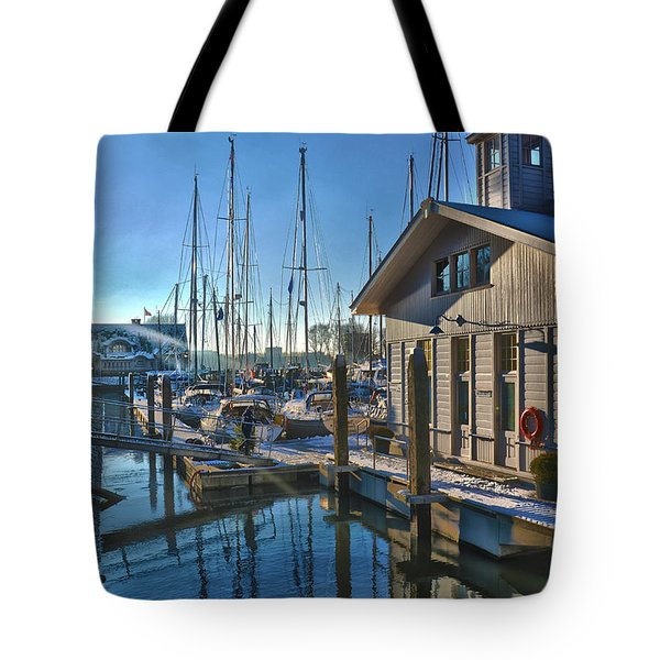 Ferry Harbour In Winter Tote Bag by Frans Blok