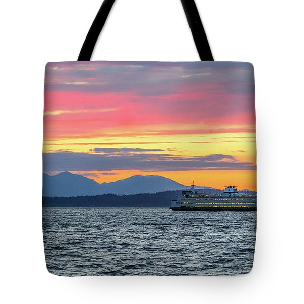 Ferry In Puget Sound Tote Bag