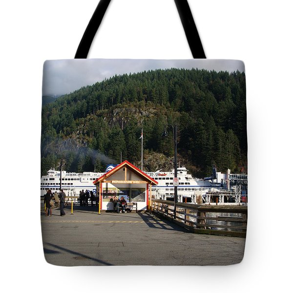Ferry Landed At Horseshoe Bay Tote Bag by Rod Jellison