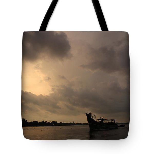 Ferry On The Way To Fort Kochi Tote Bag