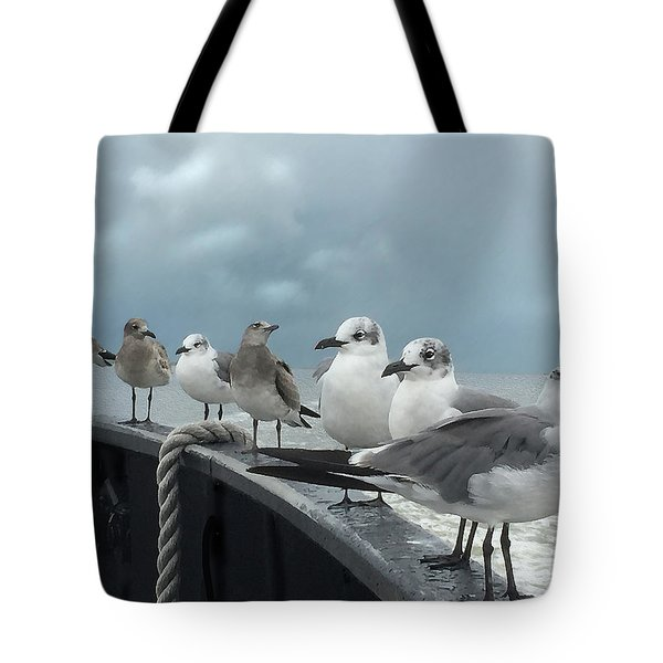 Tote Bag featuring the digital art Ferry Passengers by Gina Harrison