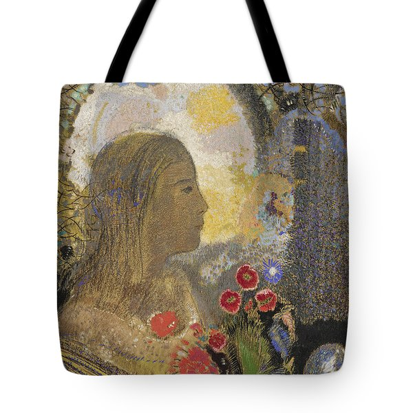 Fertility. Woman In Flowers Tote Bag