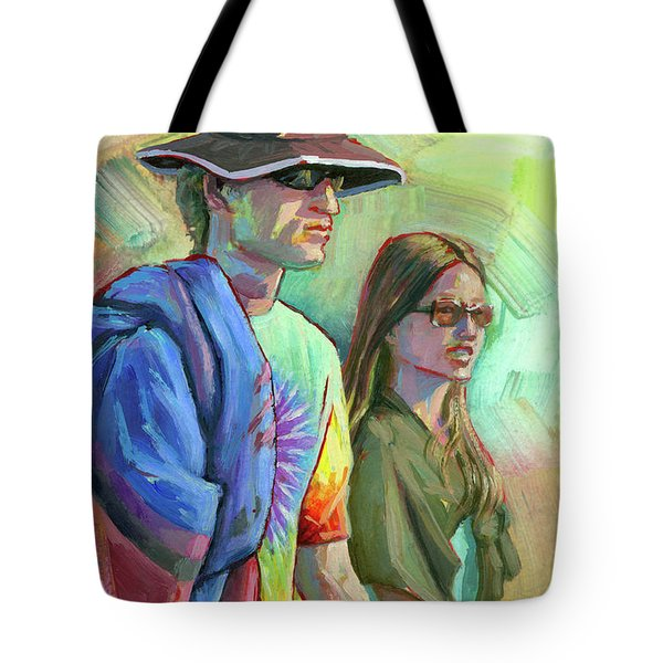 Tote Bag featuring the painting Festival Goers by Lesley Spanos