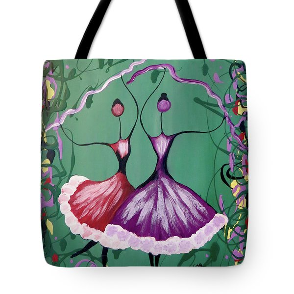 Tote Bag featuring the painting Festive Dancers by Teresa Wing