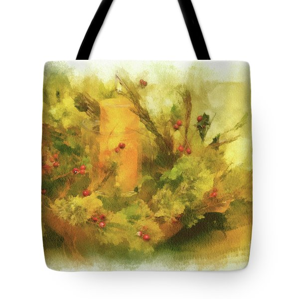 Tote Bag featuring the photograph Festive Holiday Candle by Lois Bryan