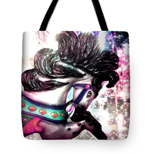 Festive Pink Carousel Horse Tote Bag