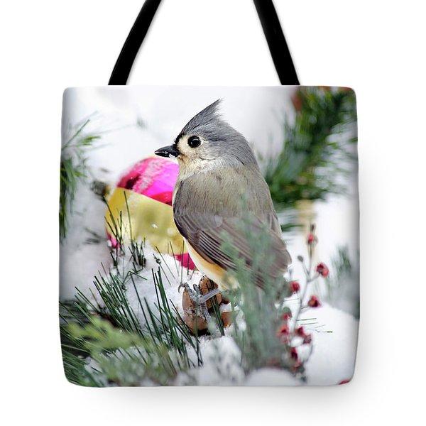 Festive Titmouse Bird Tote Bag by Christina Rollo