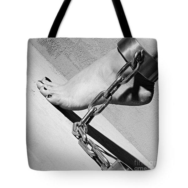 Fetish Shackled Or Cuffed Feet Tote Bag
