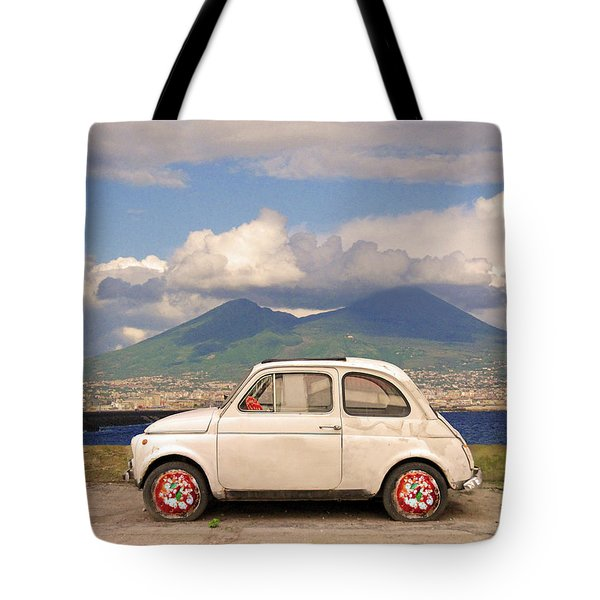 Fiat 500 Pizza Tote Bag