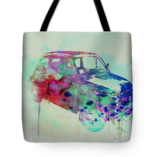 Fiat 500 Watercolor Tote Bag by Naxart Studio